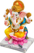 Load image into Gallery viewer, Marble Decorative Lord Ganesha Idol for Home Decor (Multicolor) - CRAFT WORLD INDIA