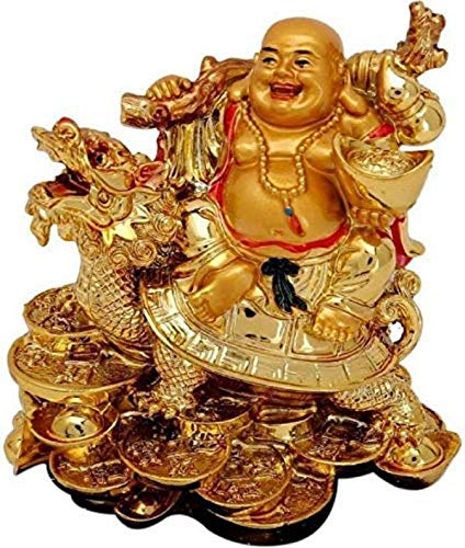 Feng Shui Laughing Buddha Sitting On Dragon Blessing Good Luck Decorative Showpiece for Good Fortune, Success & Prosperity (Laughing Buddha) - CRAFT WORLD INDIA