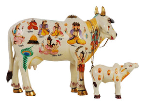 Kamdhenu Cow With Calf size 20 cm God Figure Hand Painted, Polyresin Marble dust Statue Home Decor And Puja Article Showpiece - CRAFT WORLD INDIA