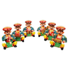 Load image into Gallery viewer, Rajasthani Wood Musician Bawla Set (Brown, Set of 6) in different musicial position, height 4.5 inch approx of each - CRAFT WORLD INDIA