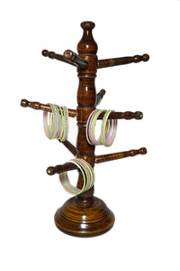 Hand Carved Wooden Bangle Stand (Jewelry Accessories) Jewellery Stand for Women - CRAFT WORLD INDIA
