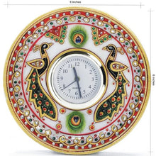 Load image into Gallery viewer, Kundan Work Round Shaped Marble Peacock Moti Clock (15.24 cm x 15.24 cm) - CRAFT WORLD INDIA