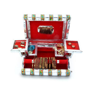 Handicrafts Colourful Mayur Meenakari Work Red/Blue Jewellery Box (Silver) - CRAFT WORLD INDIA