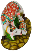 Load image into Gallery viewer, Janamasthmi Pooja Gift Lord Krishna Handcrafted Stones Studded Polymarble made Kamdhenu Cow with Calf Idol - CRAFT WORLD INDIA