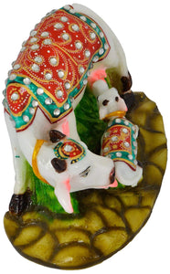 Janamasthmi Pooja Gift Lord Krishna Handcrafted Stones Studded Polymarble made Kamdhenu Cow with Calf Idol - CRAFT WORLD INDIA