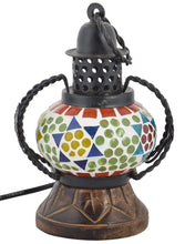 Load image into Gallery viewer, Wooden Handicraft Mosaic Glass Lamp Antique Showpiece (12 Cm X 9 Cm X 18 Cm ) - CRAFT WORLD INDIA