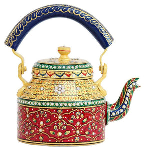 Royale Kettle Set III with 6 Glasses & Holder Handicraft Decorative Tea Coffee Set - CRAFT WORLD INDIA