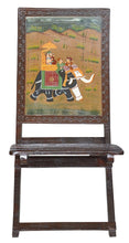 Load image into Gallery viewer, Handmade Ethnic Looks Wooden Folding Relaxing Chair with Hand Royal Painting - CRAFT WORLD INDIA