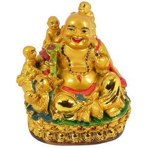 Laughing Buddha with Children for Health, Wealth and Happiness Showpiece - CRAFT WORLD INDIA