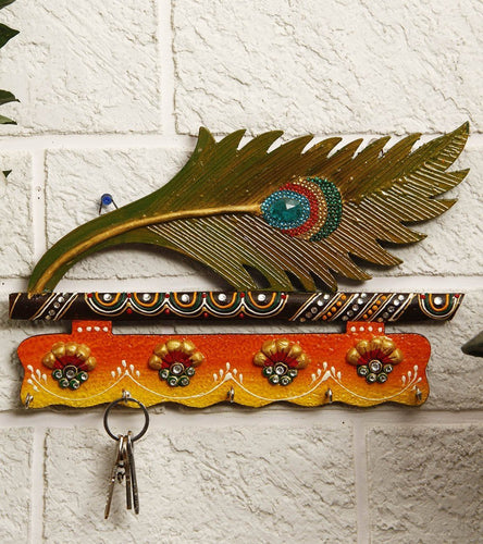Lord Krishna Bansuri and Peacock Feather pattern wooden Key Holder with painting work - CRAFT WORLD INDIA