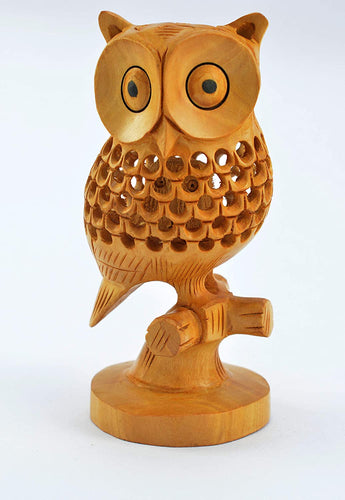 Handmade Brown Wooden Jalidar Owl Good Luck Sign Wooden Owl Sitting Tree Branch size 5 inch approx - CRAFT WORLD INDIA