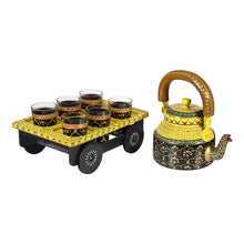 Load image into Gallery viewer, Royale Kettle Set III with 6 Glasses & Holder Handicraft Decorative Tea Coffee Set - CRAFT WORLD INDIA