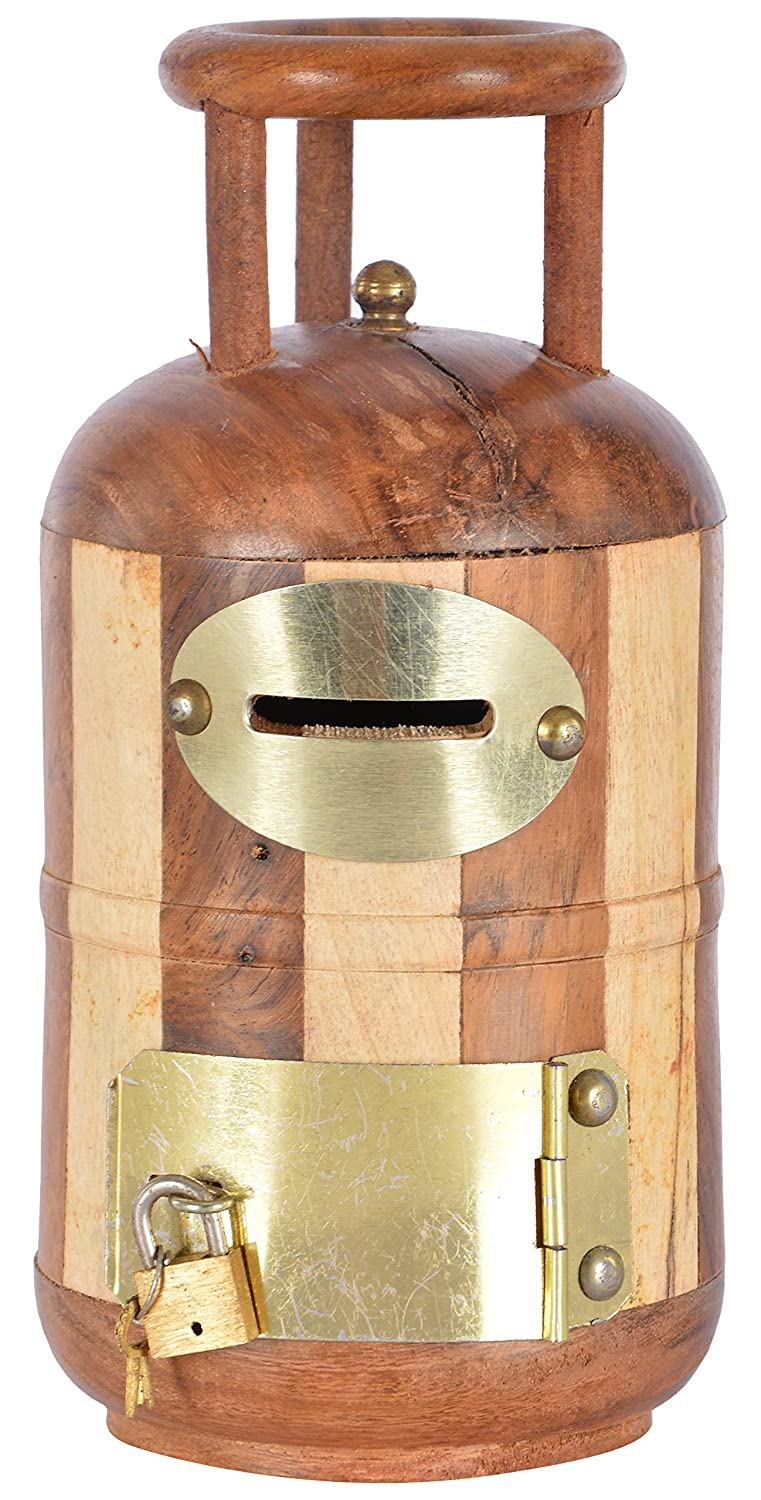 Cylinder Shaped Handicrafted Wooden Money Bank Antique- Coin Saving Box - Piggy Bank - Gifts for Kids, Girls, Boys & Adults - CRAFT WORLD INDIA