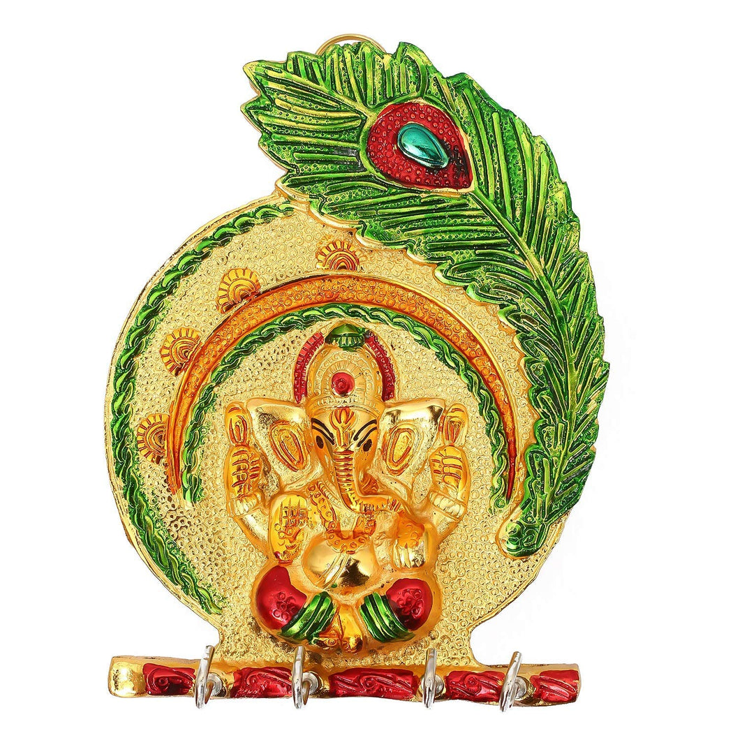 Metal Ganesh Wall Hanging with Key Holder for Home Decor Wall Decor Showpiece - CRAFT WORLD INDIA
