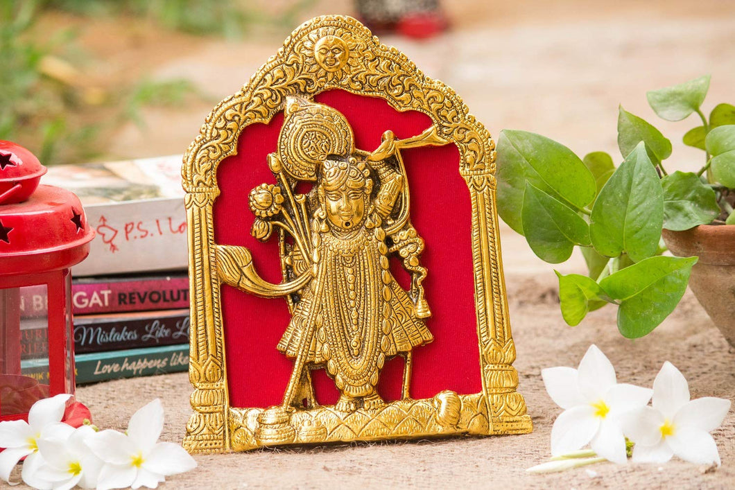 Shreenath Ji Showpiece Idol with Metal Frame Puja Article for Temple Table & Wall Hanging (16X1.5X21 cm, Gold) - CRAFT WORLD INDIA