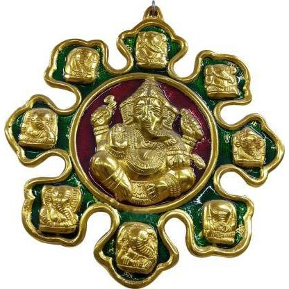 9 Mukhi Ganesha God Ganpati Idol Ganesh Wall Hanging Statue Spiritual Puja Vastu Showpiece Fegurine Decorative Showpiece - 29 cm (Metal, Multicolor) - CRAFT WORLD INDIA