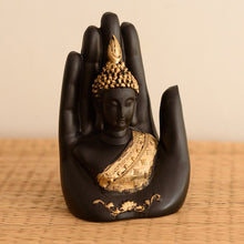 Load image into Gallery viewer, Golden Black Handcrafted Palm Buddha Polyresin Showpiece (12.5 cm x 7.5 cm x 17.5 cm ) - CRAFT WORLD INDIA