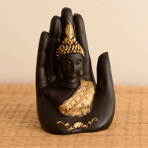 Golden Black Handcrafted Palm Buddha Polyresin Showpiece (12.5 cm x 7.5 cm x 17.5 cm ) - CRAFT WORLD INDIA