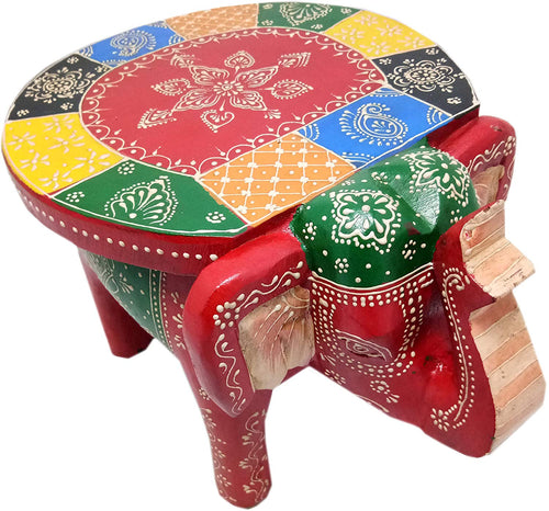 Traditional Colourful Wooden Elephant Small Showpiece, Multicolour, 9.5 X 7.5 X 7 Inches - CRAFT WORLD INDIA