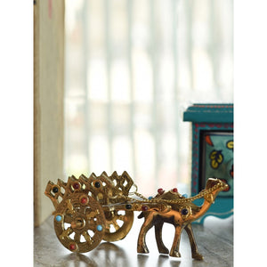 Gold Toned Brass Camel Cart Handicraft with Gemstone work - CRAFT WORLD INDIA