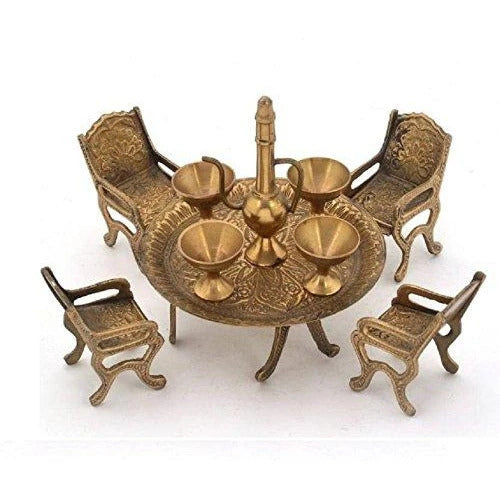 Handmade Brass Unique Dining Table-Chair Maharaja Set with Antique Surahi (15.24x7.62 cm) SHOWPIECE - CRAFT WORLD INDIA
