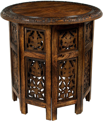 Jaipur Solid Wood Hand Carved Accent Coffee Table - 18 Inch Round Top x 18 Inch High - Antique Brown handmade table - CRAFT WORLD INDIA