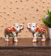 Load image into Gallery viewer, Multicolor Pair Of Marble Elephant Emboss Multi Colour Figurine showpiece handicraft for home decor and Gifting - CRAFT WORLD INDIA