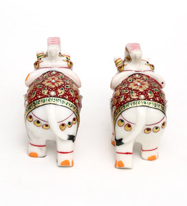 Multicolor Pair Of Marble Elephant Emboss Multi Colour Figurine showpiece handicraft for home decor and Gifting - CRAFT WORLD INDIA