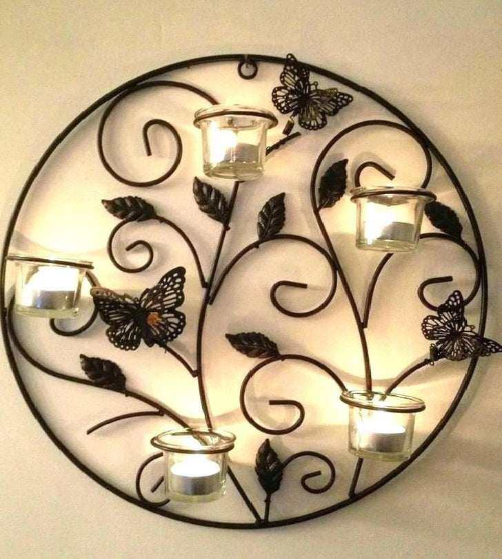 Round Wall Tealight Holder with butterfly Touch, Wall Decor Candle Stand - CRAFT WORLD INDIA