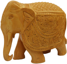Load image into Gallery viewer, LARGE SIZE Wooden handicraft home decor elephant showpiece size 7 inch (Brown) - CRAFT WORLD INDIA