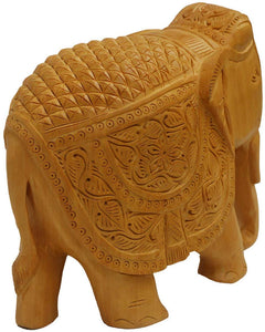 LARGE SIZE Wooden handicraft home decor elephant showpiece size 7 inch (Brown) - CRAFT WORLD INDIA