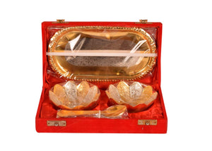 Gold and Silver Plated Floral Bowls and Spoon with Octagon Tray Set - CRAFT WORLD INDIA