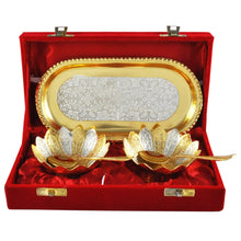 Load image into Gallery viewer, Gold and Silver Plated Floral Bowls and Spoon with Octagon Tray Set - CRAFT WORLD INDIA
