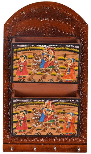 Wooden Handmade Key & Letter Holder with beautiful painting work size (38 cm x 24 cm x 7 cm, Brown) - CRAFT WORLD INDIA