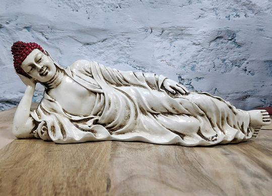 Sleeping Buddha Statue for Home Decor and Gifting with Antique Finish (Ivory Red) - CRAFT WORLD INDIA