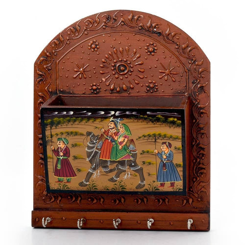 Wooden Hand Painted Magazine and 5 hook Key Holder with Rajasthani painting work (Brown) - CRAFT WORLD INDIA