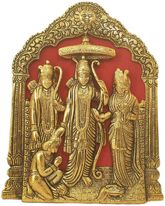Lord Ram Darbar Idol Wall Hanging Showpiece - Metal Ram Darbar Table Top Statue - Hindu Religious Idols Ram Sita Laxman Hanuman Murti Puja Diwali Decoration Items Deepawali Gifts - CRAFT WORLD INDIA