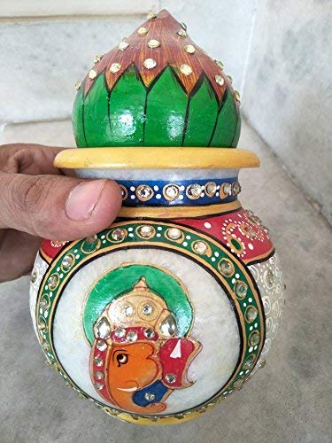 Antique Handmade Marble Pooja Kalash /Pot and Coconut Cover, 7inch - CRAFT WORLD INDIA