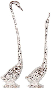Pair of love Kissing Swan/Duck Home Decor Showpiece in White Metal - 19 inch (Silver) - CRAFT WORLD INDIA