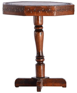 Antique Handmade Wooden Round Shape Coffee Table/Bedside Table (Brown) with Painting Work - CRAFT WORLD INDIA
