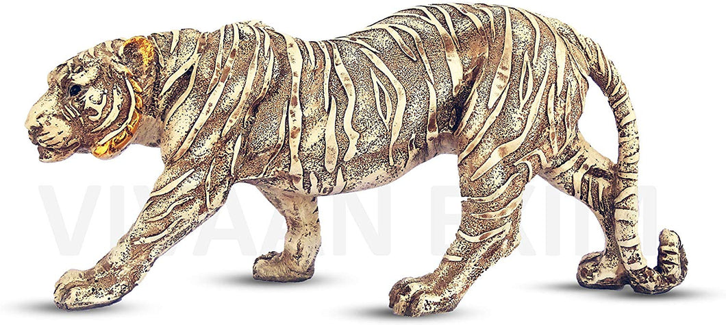 Polyresin Tiger Statue for Home Decor , Showpiece Antique Finish for decoration - CRAFT WORLD INDIA