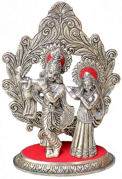 Metal Lord Radha Krishna God Idol Statue Showpiece (Silver, 12.4 x 6.5 x 19.16 cm) - CRAFT WORLD INDIA