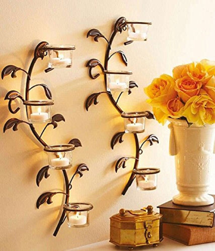 Antique Look Candle Lamp Wall Light Decorative Lamp Set Of 2 Wall Sconces 45 Cm Long With 8 Glass Cup Candle Holders - CRAFT WORLD INDIA