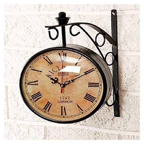 8 Inch Dial Vintage Wall Clock/Station Clock/Antique Clock/Victoria Royal Double Side Clock - CRAFT WORLD INDIA