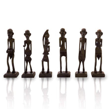 Load image into Gallery viewer, Antique African Zulu Tribal Men Handmade Wooden (Black) set of 6 - CRAFT WORLD INDIA