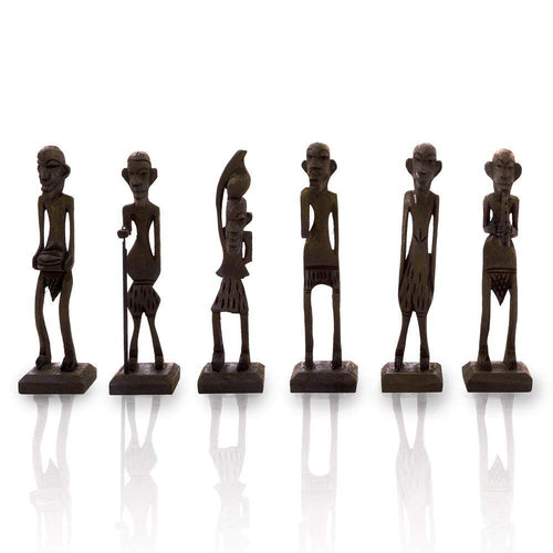 Antique African Zulu Tribal Men Handmade Wooden (Black) set of 6 - CRAFT WORLD INDIA