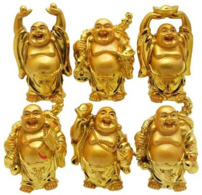 Feng Shui Chinese Happy Man / Laughing Buddha - 6 different Poses Set Figurine Golden Statue Showpiece - 6 CM (Polyresin, Gold) SET OF 6 statue - CRAFT WORLD INDIA