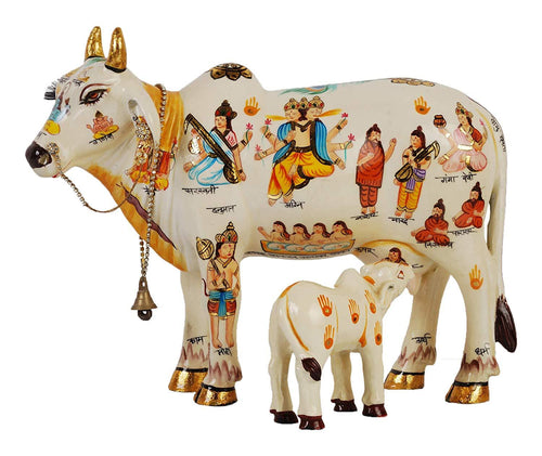 Kamdhenu Cow With Calf size 20 cm God Figure Hand Painted, Polyresin Marble dust Statue Home Decor And Puja Article Showpiece - CRAFT WORLD