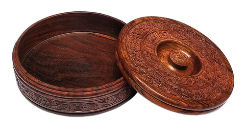 Antique handmade Carving Wooden Box Pot Serving Bowl with Lid for Chapatis (Brown, 8-inch) - CRAFT WORLD INDIA