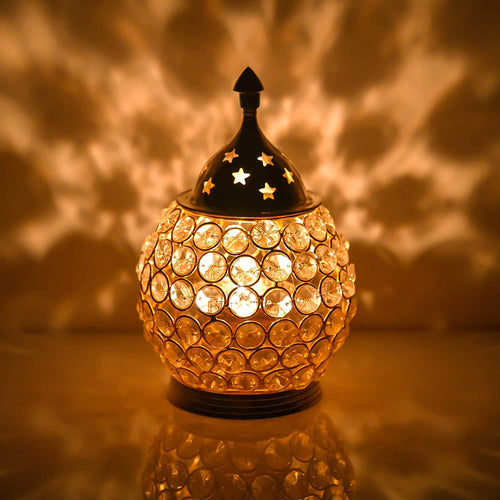 Akhand Diya Diyas Decorative Brass Crystal Oil Lamp, Tea Light Holder Lantern Oval Shape Diwali Gifts Home Decor Puja Lamp - CRAFT WORLD INDIA